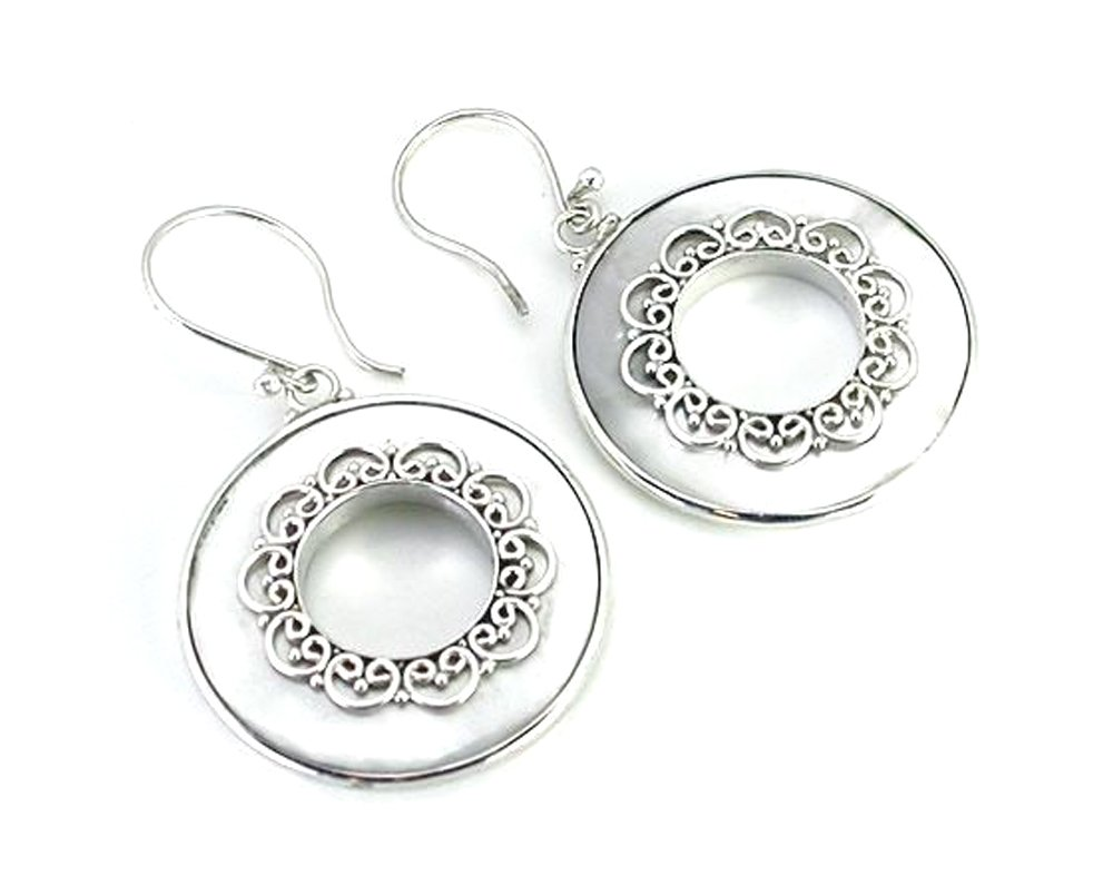 Elementals Organics Mother of Pearl Round Design # 2 with .925 Sterling Silver - Earrings - Price Per 2
