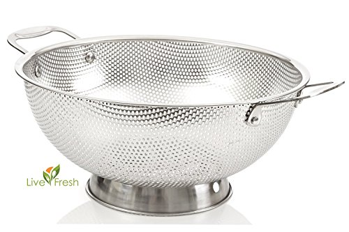 LiveFresh Stainless Steel Micro-perforated 5-Quart Colander - Professional Strainer with Heavy Duty Handles and Self-draining Solid Ring Base - Dishwasher (10 Stainless Steel Mesh Colander)