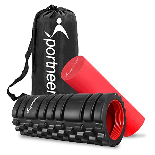 Foam Roller, Sportneer Foam Rollers with 2 Screw-in Cover Lids, Trigger Point Roller Stick for Deep Tissue Muscle Massage, with Manual & Carry Bag
