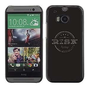 Qstar Arte & diseño plástico duro Fundas Cover Cubre Hard Case Cover para HTC One M8 ( Risk Management Black Stamp Grey)
