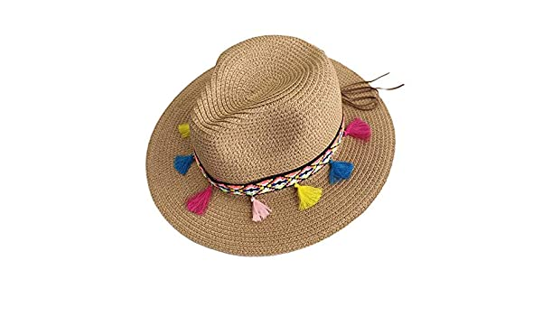 bfa787462c3 Summer Hats for Women Straw Wide Brim Color Tassel Chain Men Panama Beach  Bucket Sun Hat Khaki at Amazon Women s Clothing store
