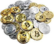50Pcs Bitcoin Coin, Gold Silver Plastic BTC Limited Edition Collectible Coin Physical Blockchain Cryptocurrenc