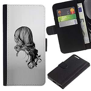 QCASE / Apple Iphone 6 Plus 5.5 / mariposa chica jengibre vestido de pelo rojo la naturaleza / Delgado Negro Plástico caso cubierta Shell Armor Funda Case Cover