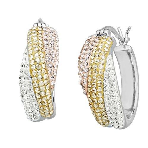 Golden Swarovski Ring - Crystaluxe Hoop Earrings with Rose, Golden & White Swarovski Crystals in Sterling Silver