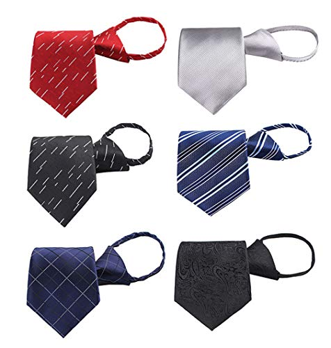 BESMODZ 6 Pack Mens Zipper Tie Woven Silk Formal Comfortable Pretied Necktie ()