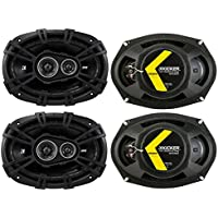 Kicker D-Series 6x9 360W 3-Way Car Audio Coaxial Speakers 43DSC69304 (4 Pack)
