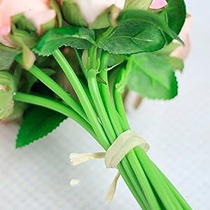 12Pcs Artificial Rose Bouquet Decorative Silk Flowers Bride Bouquets for Wedding Home Party Decoration Wedding Supplies 6