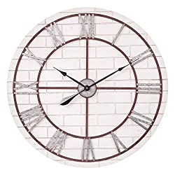 Patton Wall Decor 32 Inch Rustic Whitewash Wood and Metal Wall Clock, White