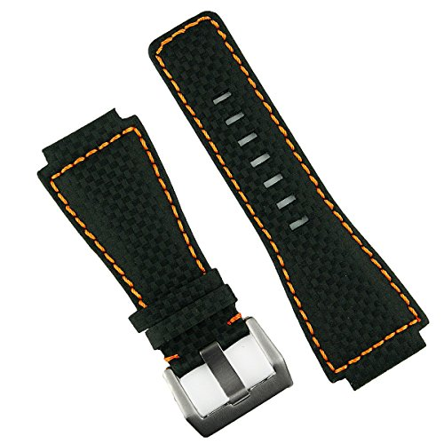 rbon Fiber Style Orange Stitch Bell & Ross BR01 BR03 Watch Band Strap - Medium Length ()