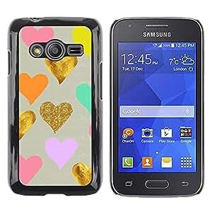 FECELL CITY // Duro Aluminio Pegatina PC Caso decorativo Funda Carcasa de Protección para Samsung Galaxy Ace 4 G313 SM-G313F // Golden Foil Pink Blue Love Kids Valentines