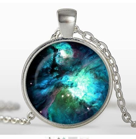 Orion Nebula Pendant, Galaxy Necklace, Silver Plated pendant, Universe Jewelry, Space (Galaxy Pedestal)