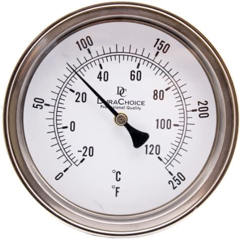"""Industrial Bimetal Thermometer 3/"""" Face x 9/"""" Stem 0-250F w//Calibration Dial"""