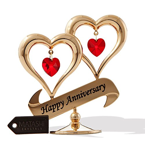 Anniversary gift for her amazon matashi 24k gold plated beautiful happy anniversary double heart table top made with genuine red crystals negle Gallery