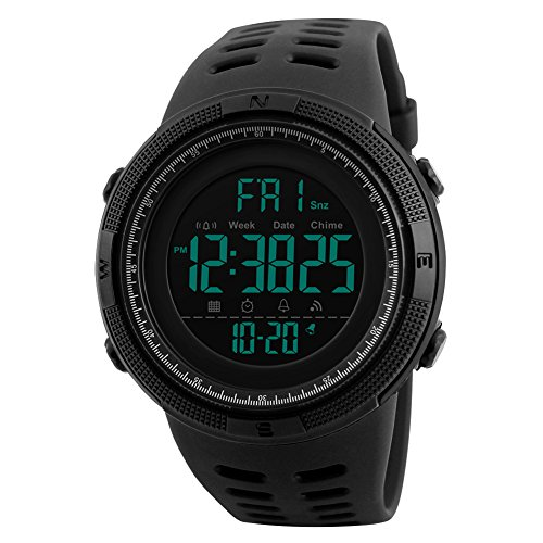 Countdown Time Dual Timer Stopwatch - Digital Watch Mens Outdoor Sports Wrist Watch Military Waterproof Wristwatch Alarm Stopwatch Timer Dual Timezone Auto Date (Black)