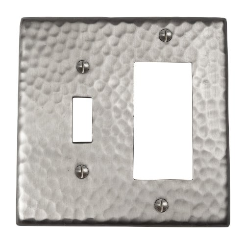 The Copper Factory CF125SN Solid Hammered Copper Single Switch and GFCI Combination Plate, Satin Nickel Finish