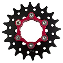 "Origin8 Ultim8 Single Speed Cassette Cog w/ 6b Disc Mount, 20t x 3/32"", Black/Red"