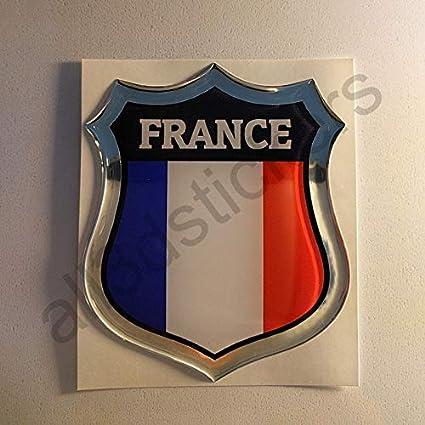 All3dstickers Pegatina Francia Relieve 3D Escudo Bandera Francia Resina Adhesivo Vinilo: Amazon.es: Coche y moto