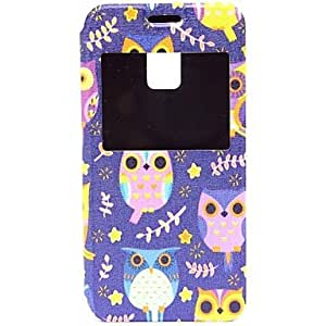 TOPAA The Owl Pattern PU Open the Window Leather Case with Card Slot and Stand for Samsung Galaxy S5mini