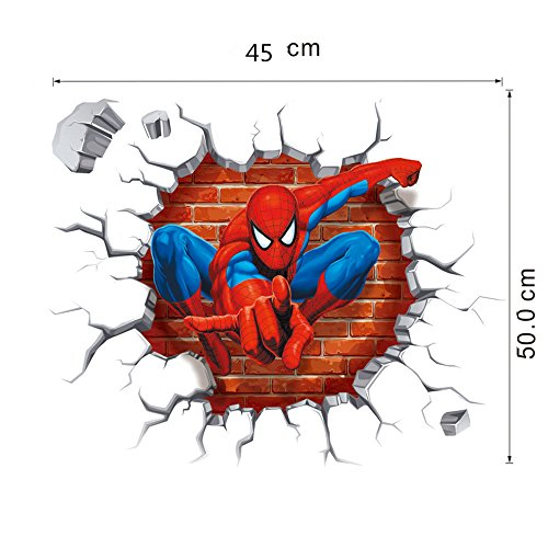 NOMSOCR 3D Wall Stickers, Vinyl Stickers DIY Family Decor Wall Art for Kids Living Room Bedroom Bathroom Tile Office Home Decoration (Spider Man) by NOMSOCR (Image #8)