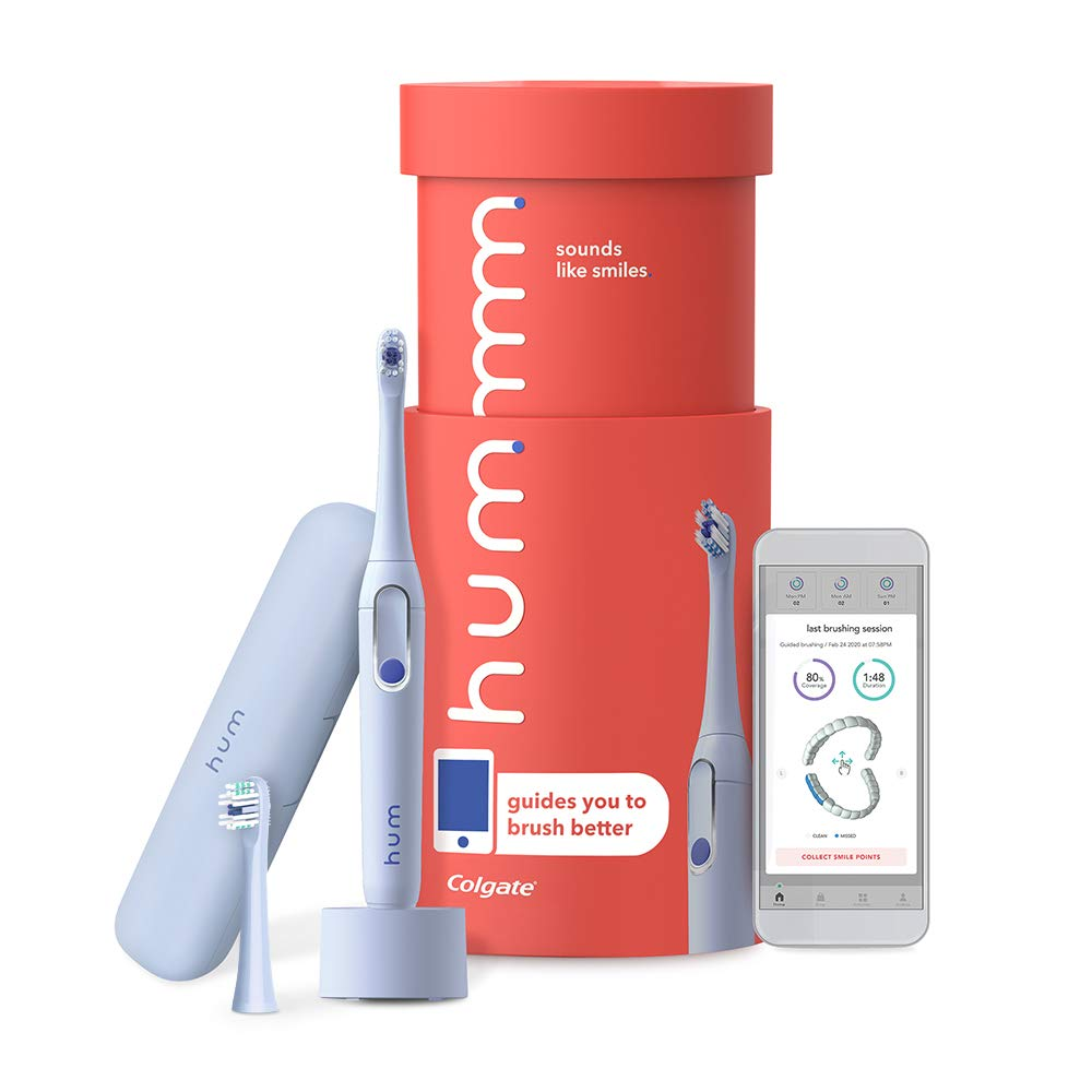 Colgate hum Smart Electric Toothbrush Kit, Rechargeable Sonic Toothbrush with Travel Case and Replacement Head, Blue: Beauty