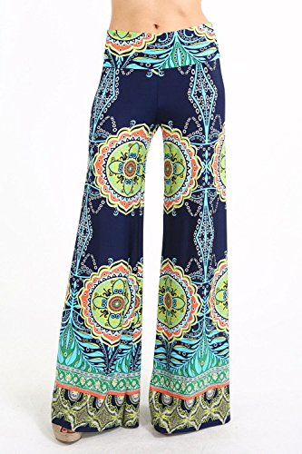 Uptown Apparel Womens Fold Over Waist Wide Leg Palazzo Pants (Navy Tribal M)