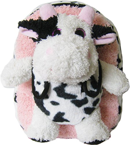 Kreative Kids Adorable Pink Cow Plush Backpack w/ Shiny Eyes and Removable Stuffed Animal