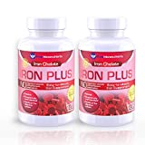 Iron Plus Supplement, Natural Ferrous Chelate, Bisglycinate 25mg + Vitamin C, B6, B12, Folic Acid, 120 Count (2-Pack) - Pure Micronutrients