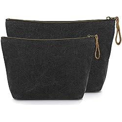 SMRITI Canvas Large Makeup Bag Pouch Purse Handbag Organizer with Zipper (7 Dark grey(Small+Large))