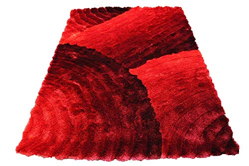 (5x7 Furry Fuzzy Fluffy Shiny Shimmer Contemporary Modern Shag Shaggy Decorative Designer Quality Soft Plush 3D High Pile Plush Area Rug Carpet Living Room Bedroom Red Two Tone Color (SAD)