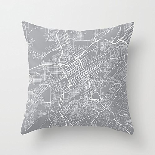 Jia3261 Pillowcases Birmingham Map, Alabama USA - Pewter 18 x 18 Throw Pillow Set for Sofa Bedroom