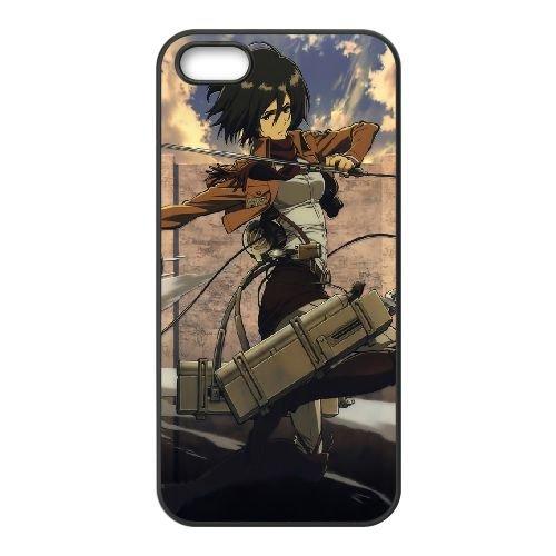 Mikasa Ackerman Attack On Titan 002 coque iPhone 4 4S Housse téléphone Noir de couverture de cas coque EOKXLKNBC26079