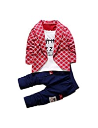 Flank 2pcs Baby Boys Shirt Tops+ Long Pants Clothes Outfits Gentleman Set (100, Red)