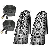 Schwalbe Rapid Rob 26' x 2.10 Mountain Bike Tyres with Schrader Inner Tubes (Pair)