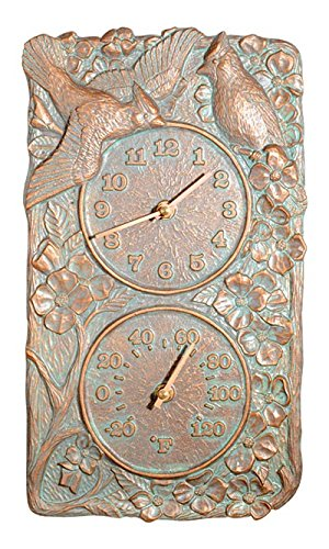 """Cardinal Thermometer Clock - Whitehall Cardinal Outdoor Clock/Thermometer Combo 14""""H x 8""""W"""