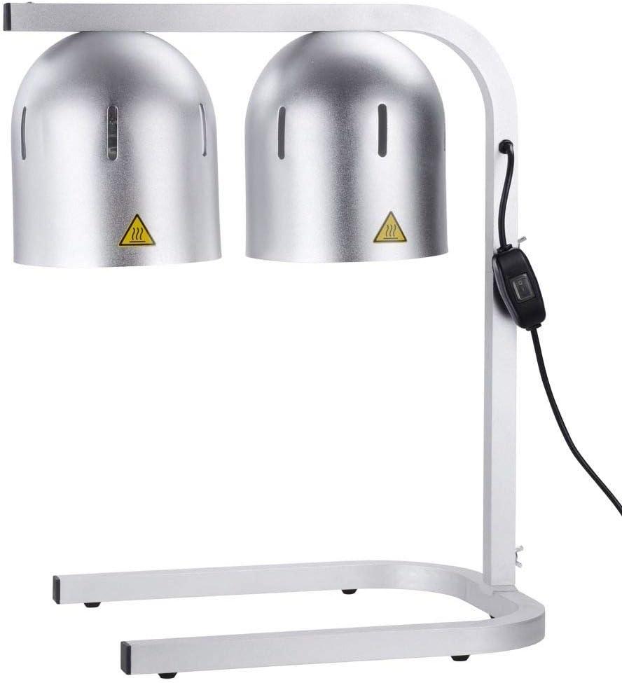 OKSLO Commercial adjustable height dual bulbs heat lamp food warmer w/temperature lim