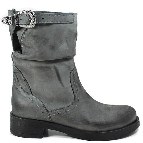 In Time Stivali Stivaletti Bassi Biker Boots Donna 0431 Nero Testa di Moro Grigio Blu Arricciati in Vera Pelle Made in Italy