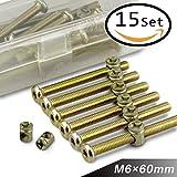 15 Sets M6 X 60mm Zinc Plated Hex Drive Socket Cap Furniture Barrel Screws Bolt Nuts Assortment Kit for Cots Beds Crib and Chairs - Arrontop (M6 × 60mm)