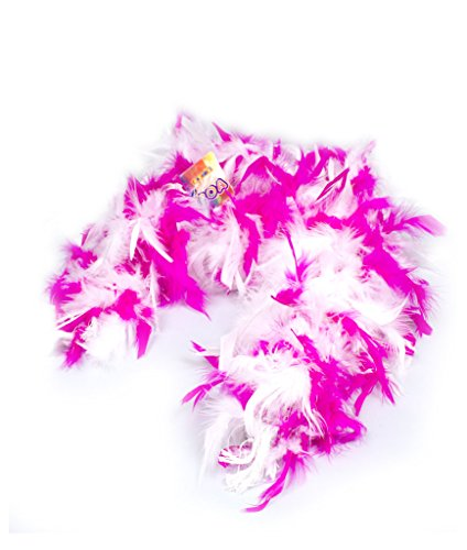 Fun Central AU011 6 inch Adult Feather Boa (Hot Pink / White)