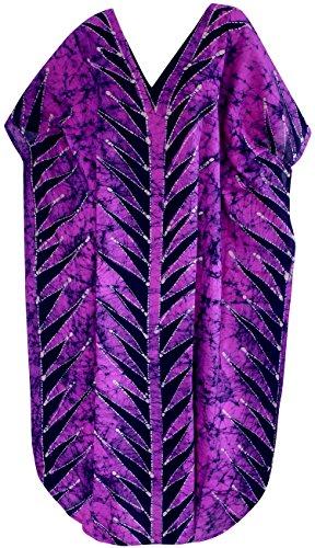 La Leela coton main batik maillots de bain bikini Beachwear femmes couvrir caftan robe violette