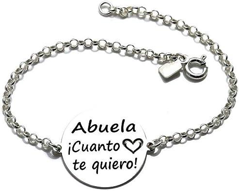 Pulsera Plata Ley 925M Cadena Rolo 18cm. Chapa 20mm. Abuela ¡Cuánto Te Quiero! Corazón: Amazon.es: Joyería