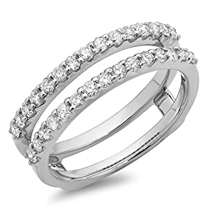 Dazzlingrock Collection 0.50 Carat (ctw) 14K Gold Round Diamond Ladies Anniversary Wedding Band Enhancer Guard Double Ring 1/2 CT
