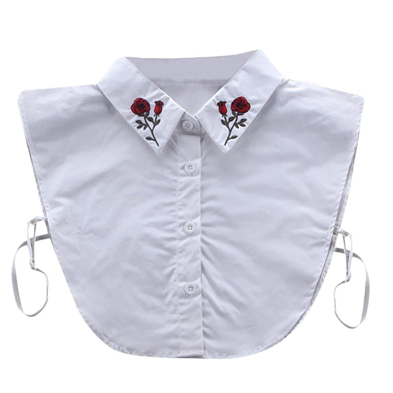 Orangeskycn Women Fake Shirt Collar Rose Detachable Collars White