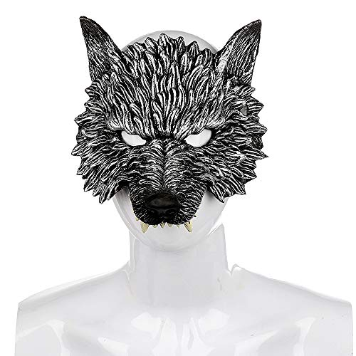 Xinjiahe 3D Mask Masquerade Wolf Mask PU Foam Evil Mask for Adult and Child Mardi Gras Party-Grey]()