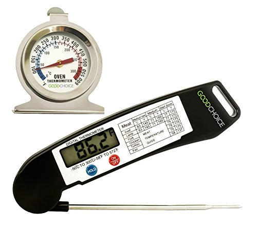 Good Choice Instant Read Thermometer Digital Barbecue Thermometer with Oven Thermometer Set Accurate Meat Probe for Kitchen and Outdoor Food Cooking BBQ Grill Milk Candy