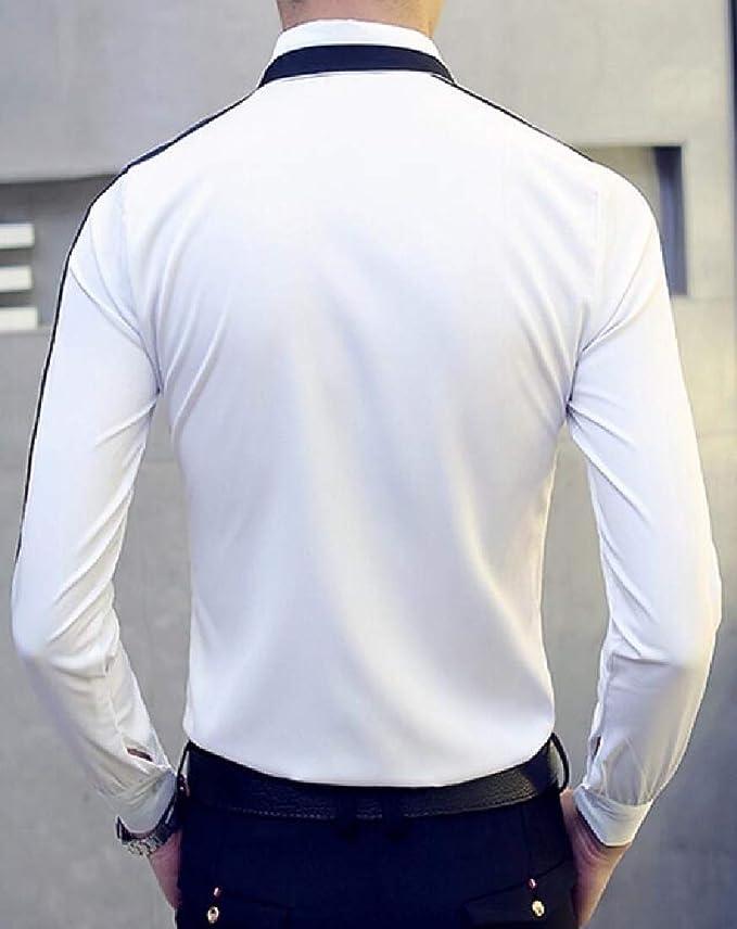 Jotebriyo Men Lapel Collar Vogue Nightclub Slim Long Sleeve Button Down Blouse Shirt