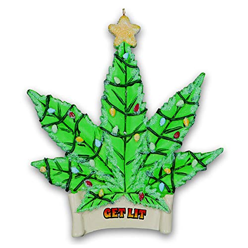 Funny One Tree Car (Kurt Adler Marijuana Leaf Get Lit Christmas Tree Ornament - Green Cannabis Pot Leaf with Glittered Christmas Lights Design - Funny Gag Gift Holiday Home or Car Decoration)