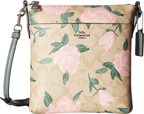 (COACH Women's Camo Rose Messenger Crossbody Silver/Light Khaki/Blush One Size)