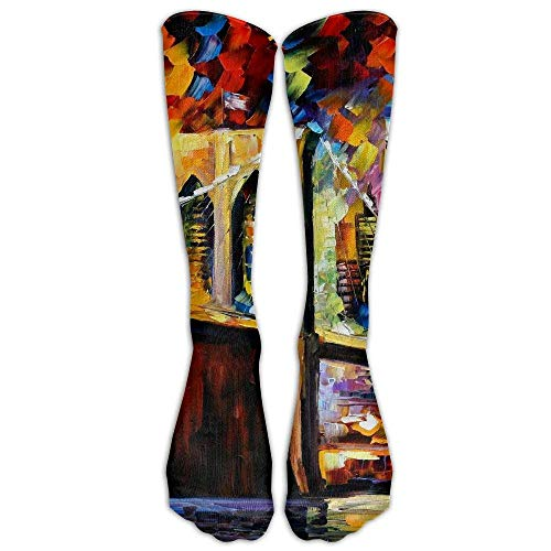 Brooklyn Bridge Oil Paintings Compression Running Socks for Mens & Womens Unisex Stockings for Sports ()