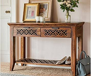 BM Wood Furniture Solid Wood Console Table  Finish Color   Natural  Tables