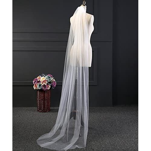 2 Meters Long One Single Layer Tulle Wedding Bridal Veils with Comb